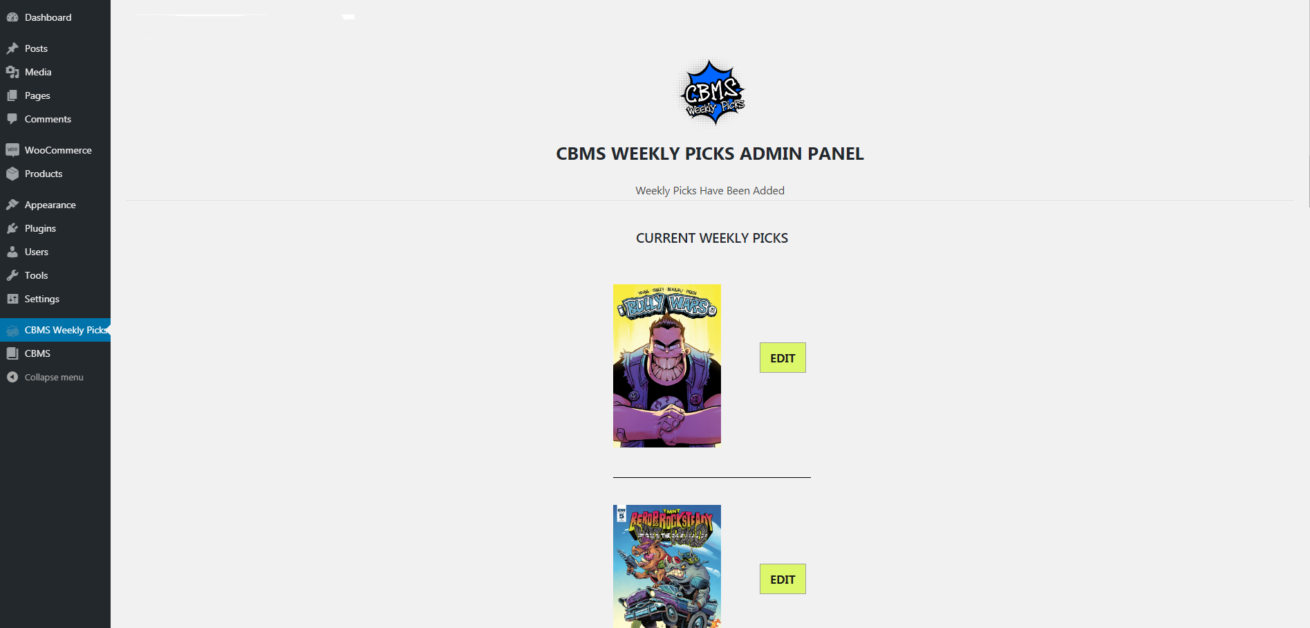 comic book management system books added in admin panel